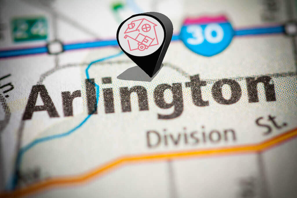 Arlington Moving Services Map with pin