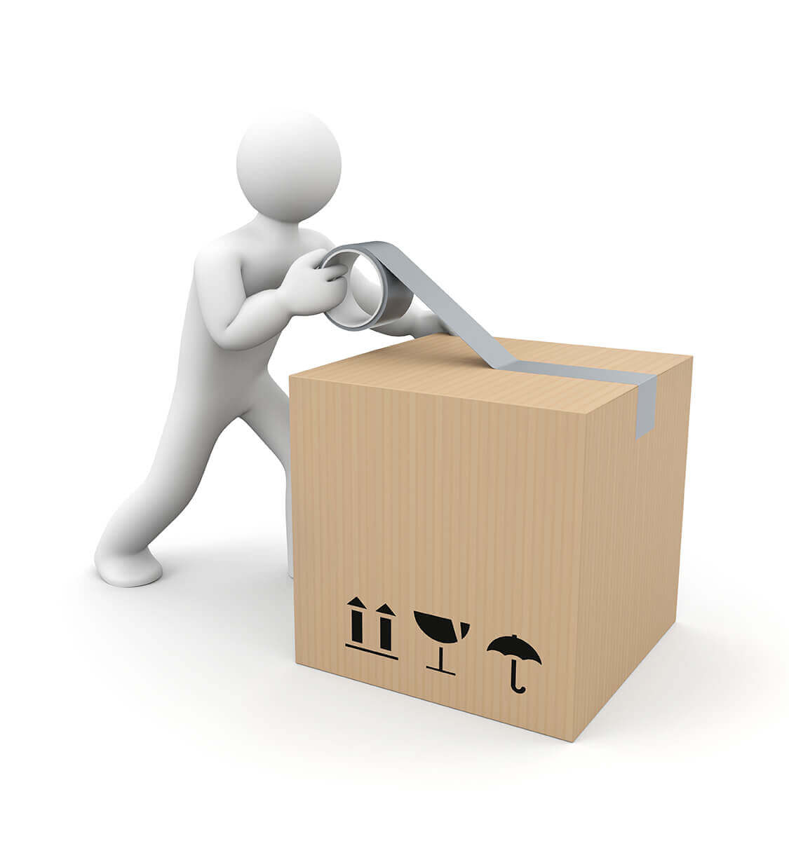 Packing services man with box